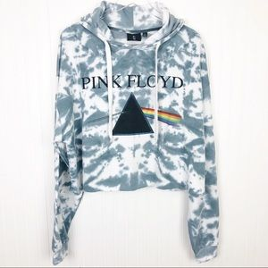 NWT Pink Floyd Tie-Dye Cropped Hoodie Size XL